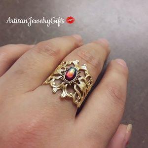 Art Nouveau Dragon's Breathe Gemstone Ring